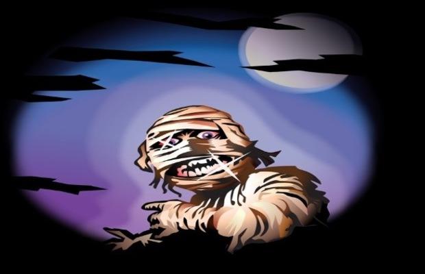 mummy under night sky.