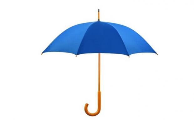 Blue umbrella representing umbrella workers