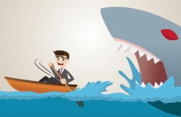 Animated shark eating a boy
